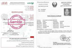 Police Clearance certificate samble